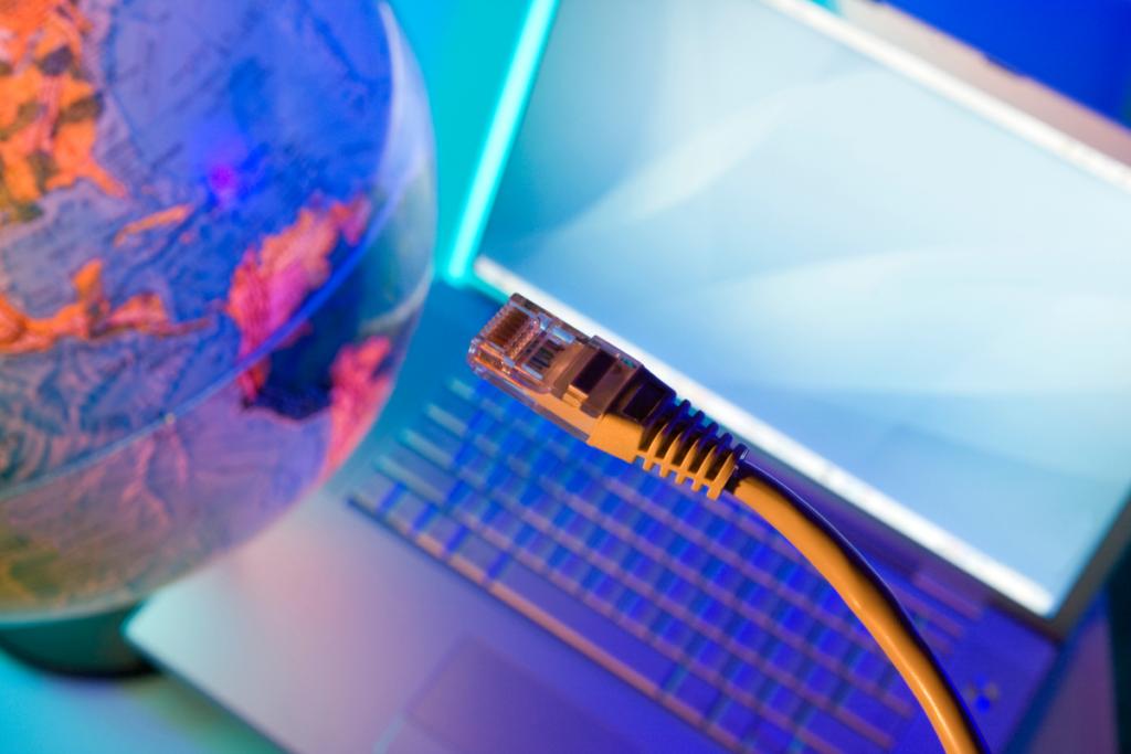 Globe, computer, and broadband wire