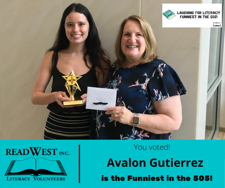 Avalon Gutierrez holds her trophy as winner of the Funniest in the 505 as Executive Director Muncie Hansen presents her with an envelope.